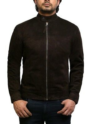 Brandslock Mens Genuine Leather Biker Jacket Pacific Suede Vintage