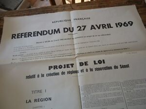 Image Is Loading Rare Original Poster 65x100 27 April 1969 Referendum