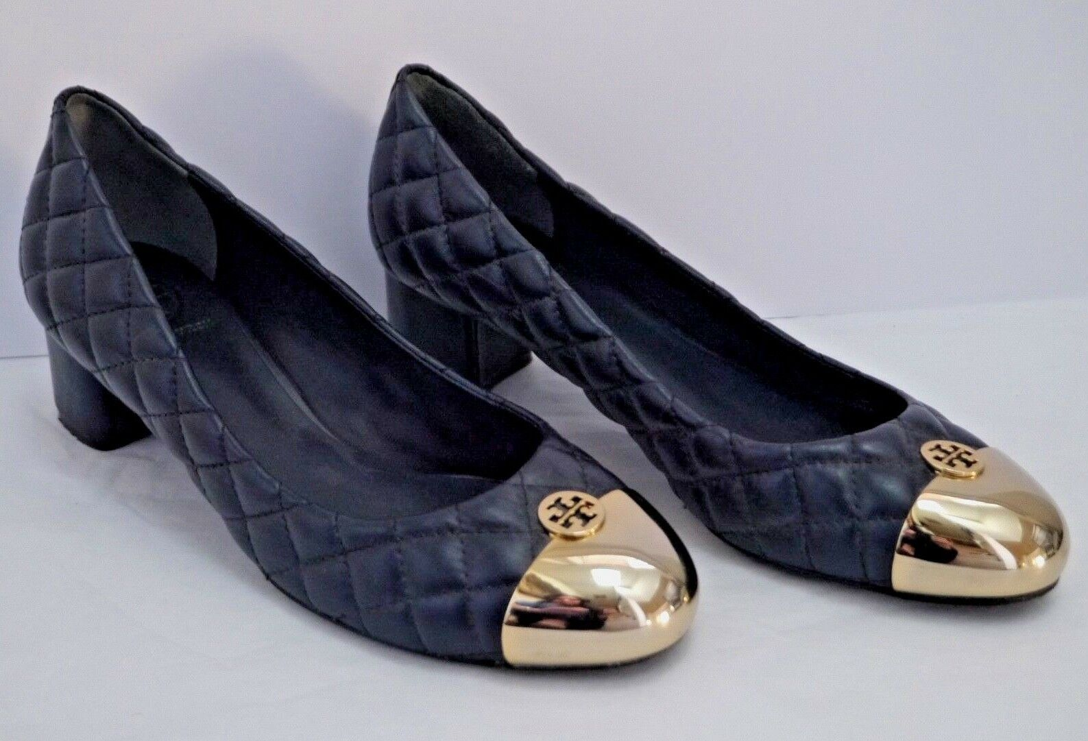 TORY BURCH Kaitlin navy quilted leather gold metal logo toe pumps low heels 9