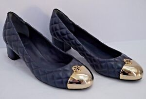 e0b533b84594 TORY BURCH Kaitlin navy quilted leather gold metal logo toe pumps ...