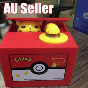 Pokemon Pikachu Moving Electronic Coin Money Piggy Bank Savings Box Xmas Gift EA