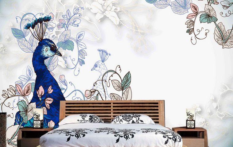 3D IL Blau Pavone 42 Parete Murale Carta da parati immagine sfondo muro stampa