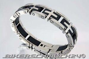 Biker Armband Armspange 9 Kreuze mit Kautschuk Edelstahl Harley Biker Geschenk