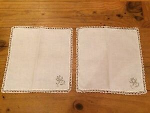 VINTAGE-PAIR-11-1-2-034-290mm-OFF-WHITE-GREY-EMBROIDERED-SQUARE-SERVIETTES