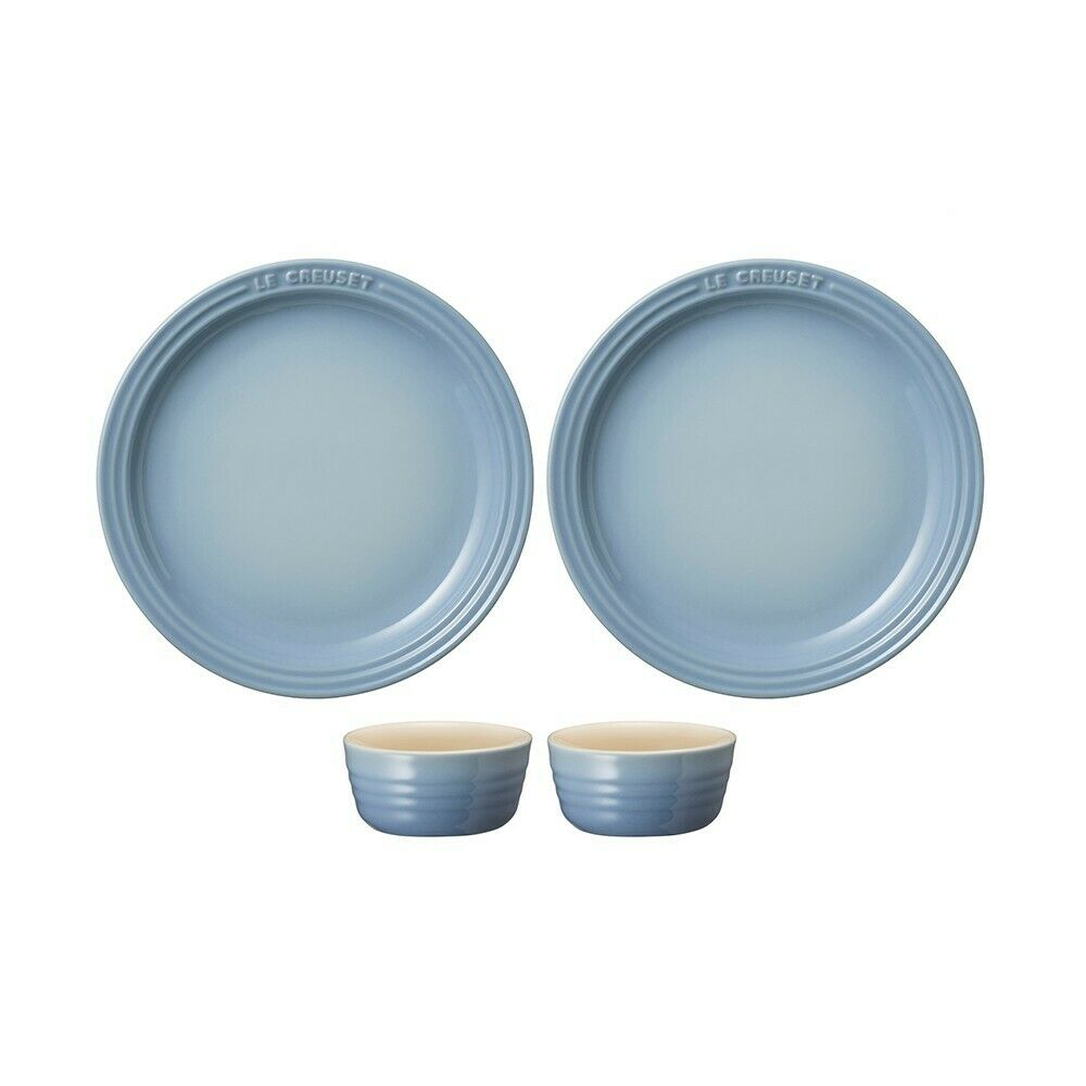Le Creuset Plaque Ronde Set Coastal Bleu Petit ramkan Stoneware Vaisselle