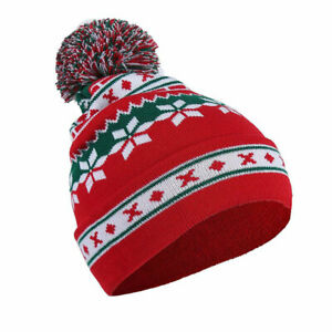 Gift-Christmas-Snowflake-Beanie-Hat-Ski-caps-Warm-Knitted-Cap-Pompom-hats