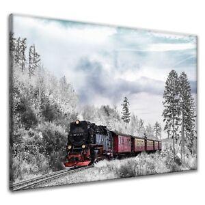 Leinwand-Bilder-Wandbild-Canvas-Kunstdruck-Winterlandschaft-Fahrzug