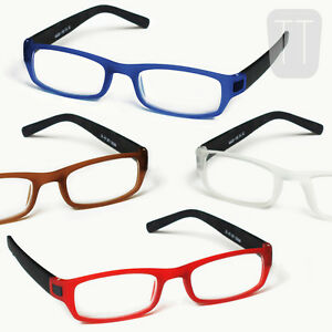 NEW-RIMMED-READING-GLASSES-amp-POUCH-BLACK-RED-BLUE-BROWN-VARIOUS-STRENGTHS