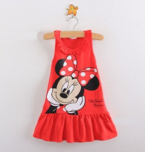 NEW Girls Dress Minnie Mouse Pink or Red Party Dress Fancy Dress Summer