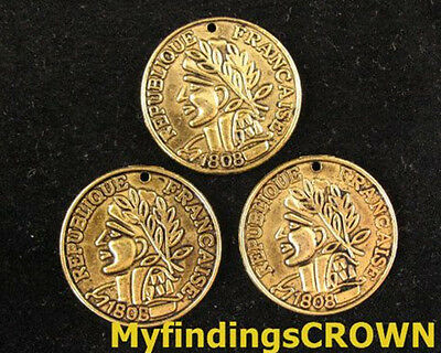 40 pcs Antiqued gold crafted coin charms 23mm FC739
