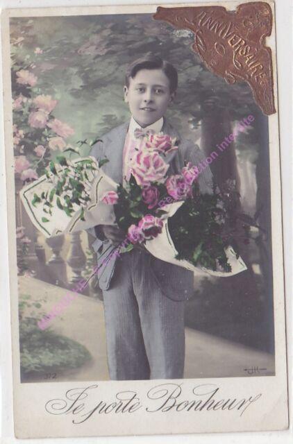 CPA postcard photo Edwardian CHILD boy ANNIVERSAIRE Edit J.K. 372 ca1911