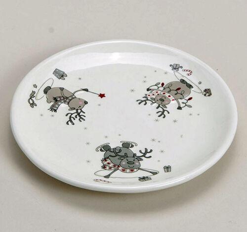 22641w Dessertteller Elch Keramik Teller Kuchenteller Kaffeeservice Weihnacht