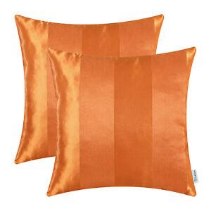 2PCS-Throw-Pillow-Cover-Reversible-Jacquard-Striped-Sofa-Decor-18x18-034-Orange