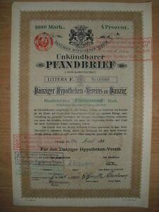 Danziger Hypotheken-verein, Danzig / Gdansk 1920 Jetzt Polen Geschickte Herstellung