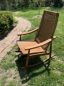vintage 1970  hans wegner rope Teak rocking chair mcm