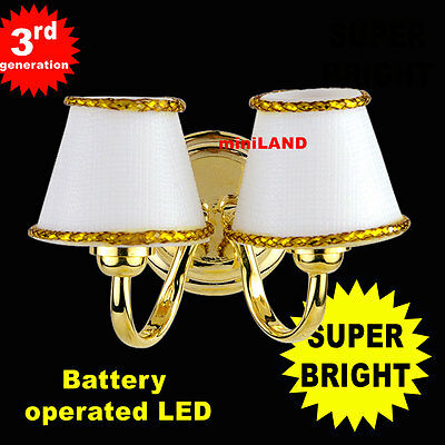 Dbl Brass Sconce SUPER BRIGHT 3G LED Dollhouse miniature light lamp