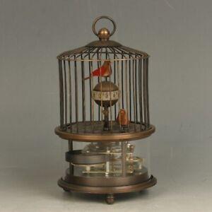 European-Style-Mechanical-Clock-Horologe-Brass-Birdcage-Shape-Two-Birds