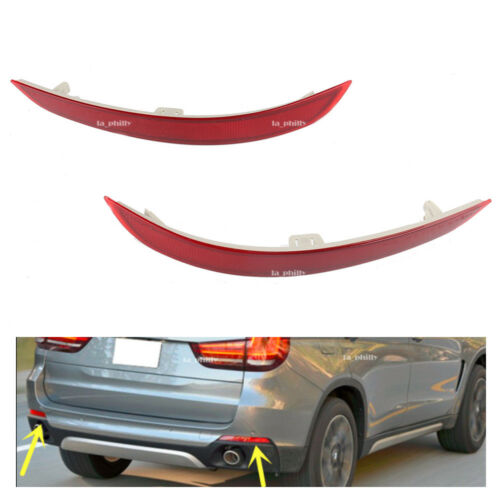 Pair L R Rear Red Lens Bumper Reflector Cover For BMW F15 X5 2014-2017