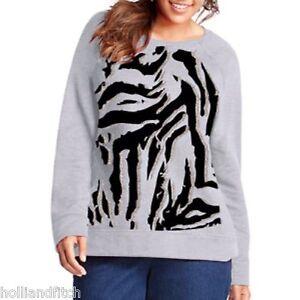 My size gray silver sparkle zebra fleece sweatshirt tunic plus size