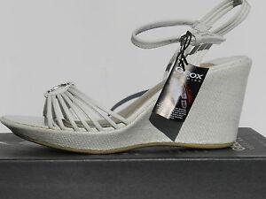 Geox-Alena-Chaussures-Femme-38-5-Sandales-Espadrilles-Escarpins-Wedge-UK5-5-Neuf