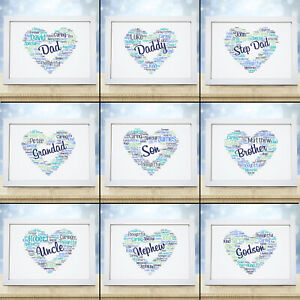Personalised-Heart-Print-Birthday-Fathers-Day-Gift-Dad-Daddy-Son-Frame-Gift