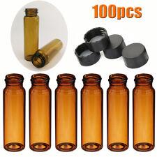 100pcs Lab 40ml Capacity Sample Vialscaps Amber Glass Bottles Screw Top 28mm