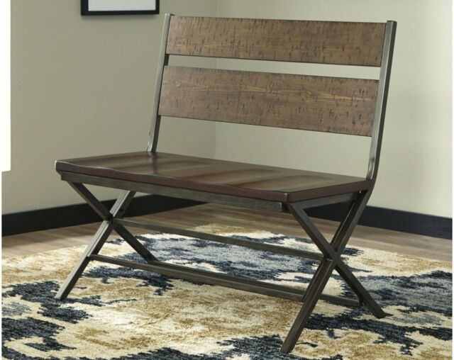 Astounding Dining Bench Chair Farmhouse Double Distressed Brown Black Metal Vintage Finish Andrewgaddart Wooden Chair Designs For Living Room Andrewgaddartcom