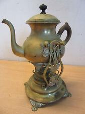 Antique 1896 Sternau & Co Brass tilting tea pot on fancy stand with burner