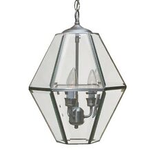 NEW Brushed Nickel Clear Beveled Glass Pendant Chandelier fixture NIB