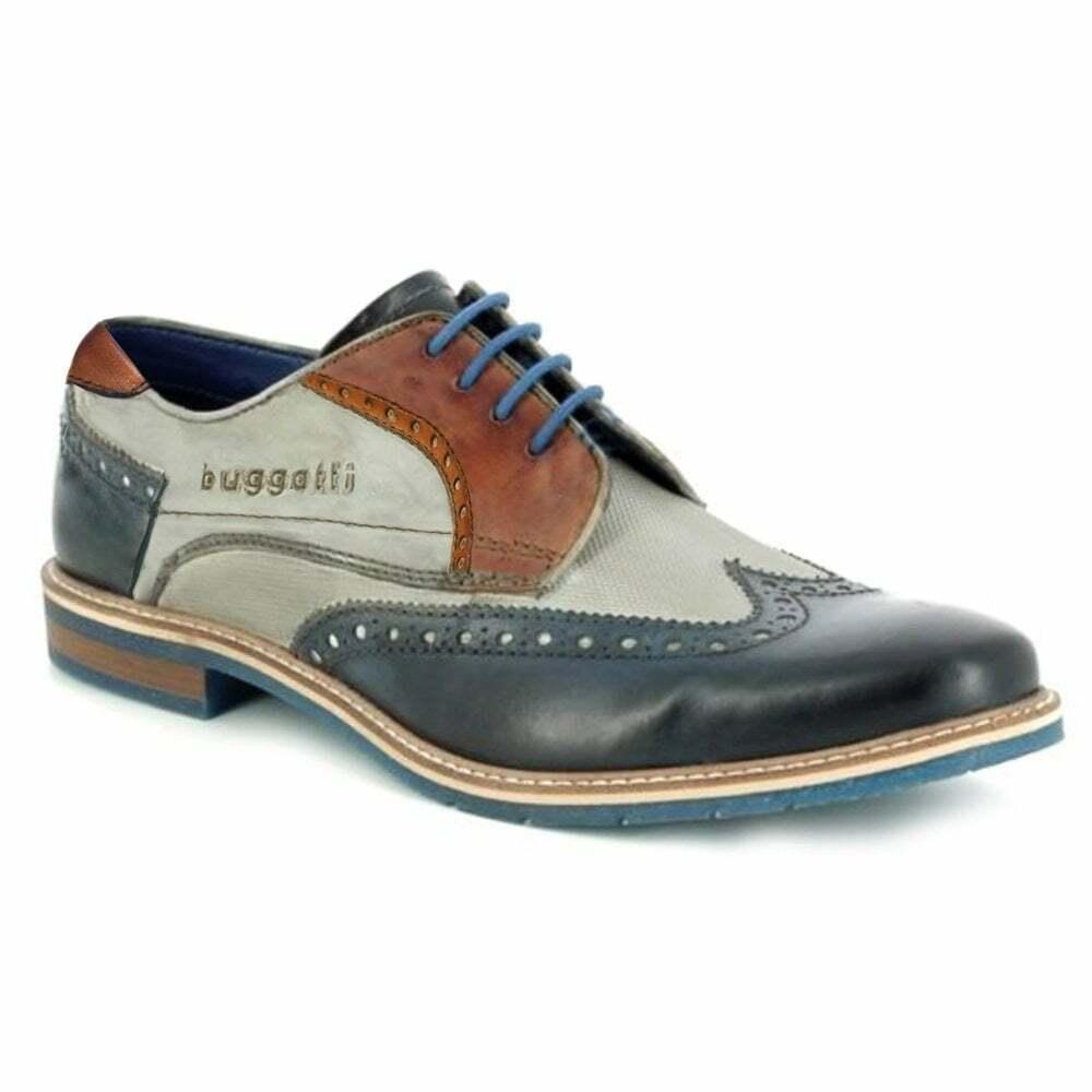 Bugatti 312-64703-4141 Homme en Cuir Premium Richelieu à Chaussures-Bleu foncé gris
