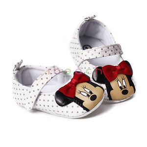 Newborn Baby Girls Mary Jane Minnie Mouse Crib Shoes 0 6 6