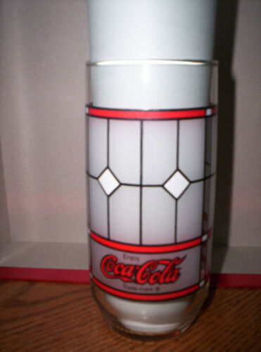 Coke Frosted Coca-Cola Soda Collectible Drinking Glass Stained Glass