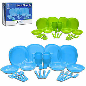 26-Piece-Shatterproof-Plastic-Picnic-Camping-BBQ-Party-Family-Dinner-Dining-Set