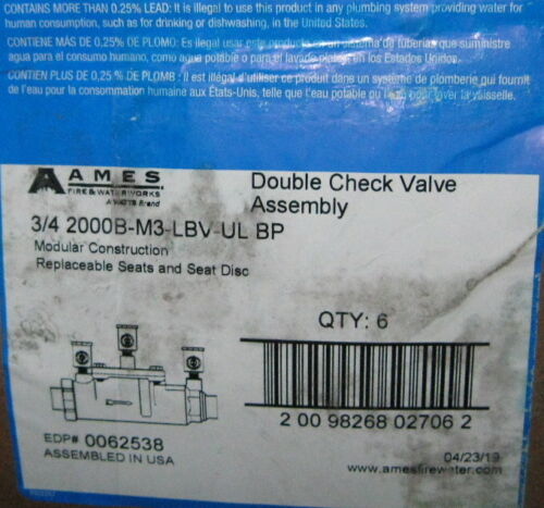 New 1 Watts Ames 3//4 2000B-M3-LBV-UL Double Check Valve Assembly 175 PSI