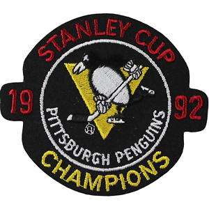 1992 NHL Stanley Cup Final Champions Logo Pittsburgh Penguins Patch Jersey