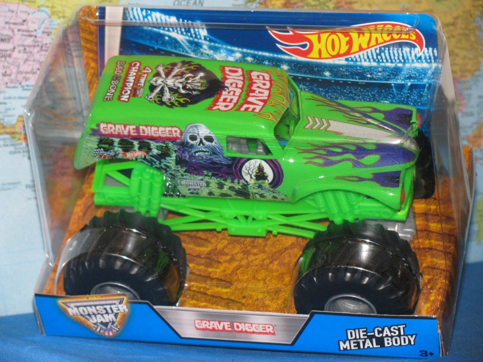 1 24 Hot Wheels Mermelada de Monstruo Grave Digger Camión 4 Hora Champion verde