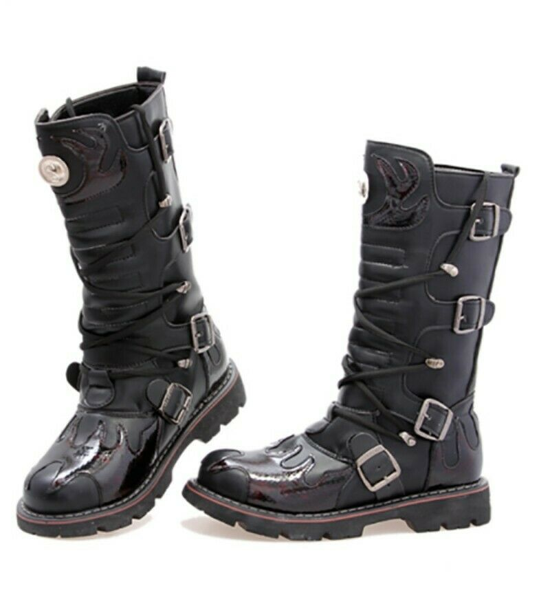 Mens Gothic Wedge Lace Up Knee High Boot Military Motorcycle Biker shoes Fashion