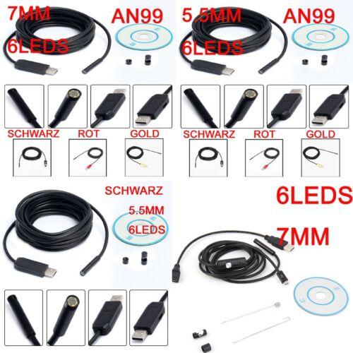 1-15M 5.7//7//10mm USB 4//6LED Endoskop Rohrkamera Inspektionskamera Android PC AH