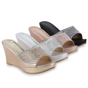 Keilabsatz Zu Plateau Schuhe Damen Details Pantoletten Strass Sandaletten 825811 Mules tdCBsxrhQ