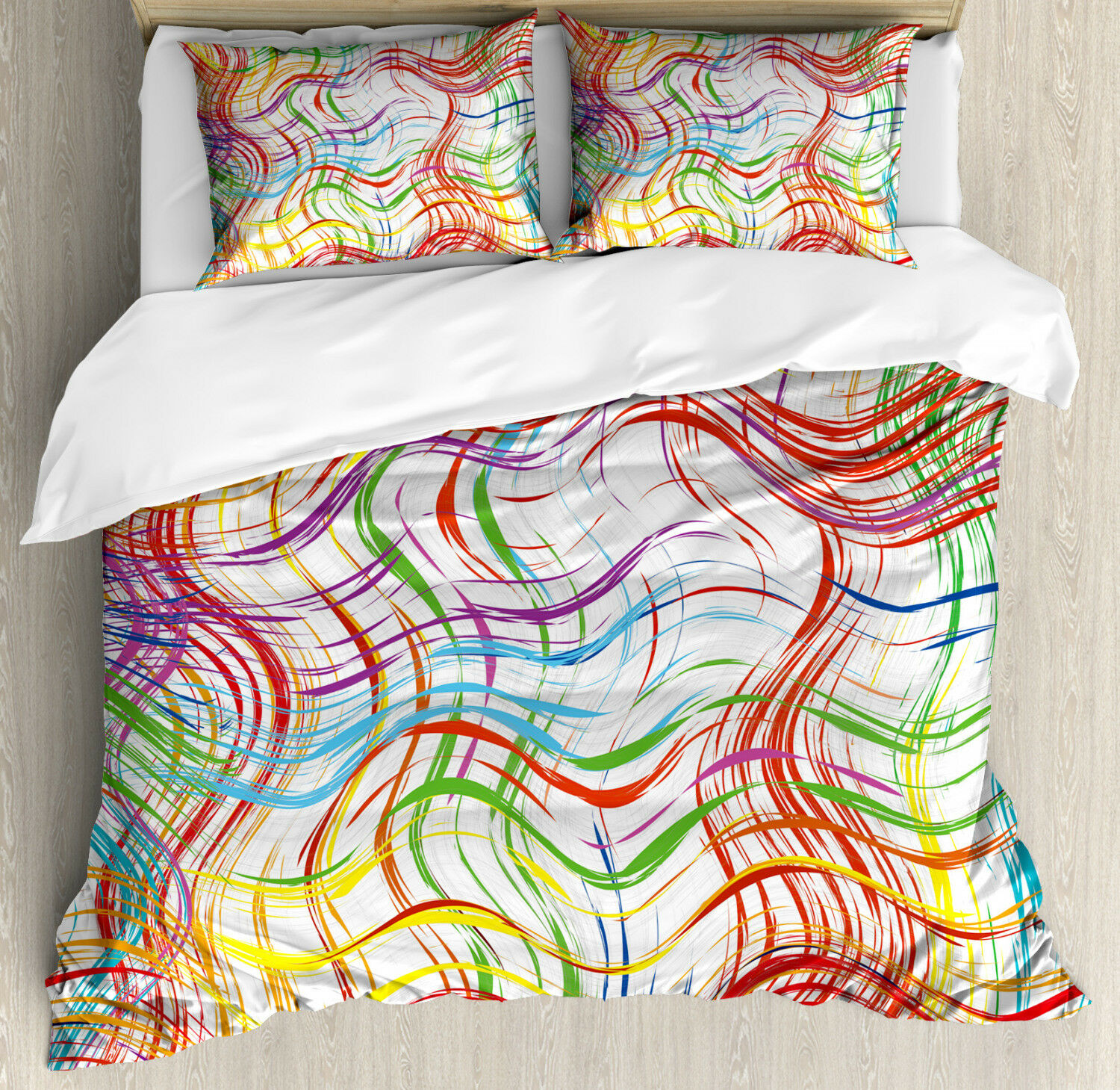 Grunge Duvet Cover Set with Pillow Shams Wavy colorful Stripes Print