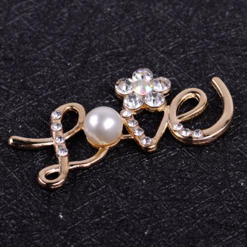 10x Love with Flower Embellishments Crystal Pearl DIY Flatback Wedding Brooches