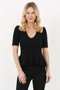 Size-10-New-Look-Womens-Ladies-Black-Peplum-Top-V-Neck-Special-Summer-price