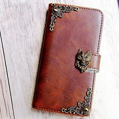 Fox phone wallet Leather flip case Wolf card Handmade cover For Huawei mate 10 9