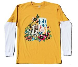 Colt 45 Stout Malt Liquor Jeff Spicoli 2fer Thermal sleeve T-shirt Mustard
