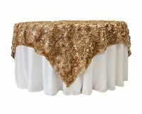 10 Grandiose 3d Large Rose 72x72 Rosette Satin Overlays Tablecloth Table Cover