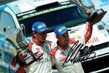 Mads OSTBERG & Jonas ANDERSSON WRC SIGNED AUTOGRAPH 12x8 Trophy Photo AFTAL COA