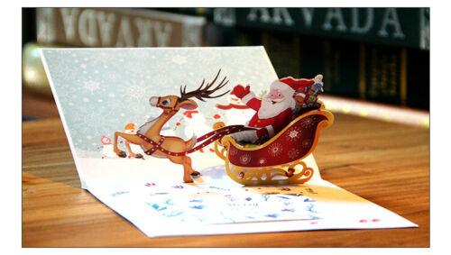 3d Carte de Noël Pop Up avec Enveloppe Père Noël dans traîneau