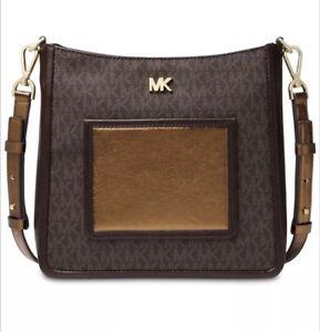 167c998632e7 Image is loading Michael-Kors-Signature-Metallic-Gloria-Pocket-Swing-Pack-