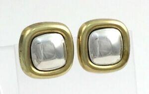 Vintage-925-Sterling-Silver-2-Tone-Modernist-Square-Post-Earrings