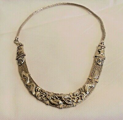 Chinese antique Tibetan silver necklace hand-carved dragon head necklace